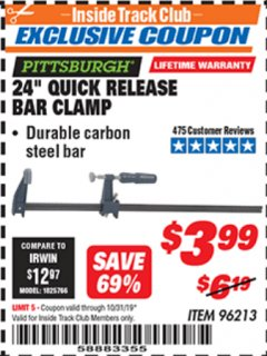 "Harbor Freight ITC Coupon 24"" QUICK RELEASE BAR CLAMP Lot No. 96213 Expired: 10/31/19 - $3.99"