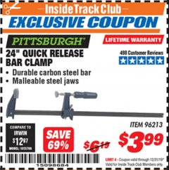 "Harbor Freight ITC Coupon 24"" QUICK RELEASE BAR CLAMP Lot No. 96213 Expired: 12/31/19 - $3.99"