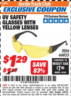 Harbor Freight ITC Coupon UV SAFETY GLASSES WITH YELLOW LENSES Lot No. 66823 Expired: 2/28/19 - $1.29