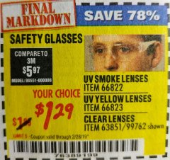 Harbor Freight Coupon UV SAFETY GLASSES WITH YELLOW LENSES Lot No. 66823 Expired: 2/28/19 - $1.29