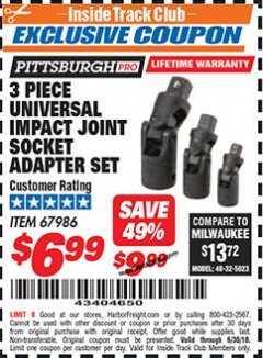 Harbor Freight ITC Coupon 3 PIECE UNIVERSAL IMPACT JOINT SOCKET ADAPTER SET Lot No. 67986 Expired: 6/30/18 - $6.99