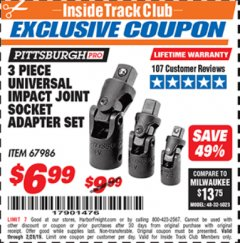 Harbor Freight ITC Coupon 3 PIECE UNIVERSAL IMPACT JOINT SOCKET ADAPTER SET Lot No. 67986 Expired: 2/28/19 - $6.99