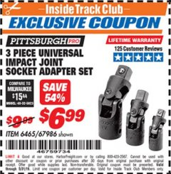 Harbor Freight ITC Coupon 3 PIECE UNIVERSAL IMPACT JOINT SOCKET ADAPTER SET Lot No. 67986 Expired: 5/31/19 - $6.99