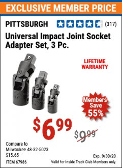 Harbor Freight ITC Coupon 3 PIECE UNIVERSAL IMPACT JOINT SOCKET ADAPTER SET Lot No. 67986 Expired: 9/30/20 - $6.99