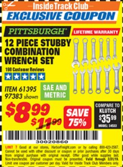 Harbor Freight ITC Coupon 12 PIECE SAE AND METRIC STUBBY COMBINATION WRENCH SET Lot No. 61395/97383 Expired: 3/31/19 - $8.99