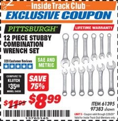 Harbor Freight ITC Coupon 12 PIECE SAE AND METRIC STUBBY COMBINATION WRENCH SET Lot No. 61395/97383 Expired: 2/29/20 - $8.99