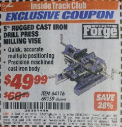 "Harbor Freight ITC Coupon 5"" RUGGED CAST IRON DRILL PRESS MILLING VISE Lot No. 69159/94276 Expired: 7/31/18 - $49.99"