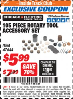 Harbor Freight ITC Coupon 105 PIECE ROTARY TOOL ACCESSORY SET Lot No. 47644 Expired: 4/30/19 - $5.99