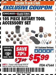 Harbor Freight ITC Coupon 105 PIECE ROTARY TOOL ACCESSORY SET Lot No. 47644 Expired: 9/30/19 - $5.99