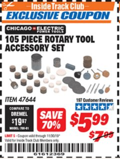 Harbor Freight ITC Coupon 105 PIECE ROTARY TOOL ACCESSORY SET Lot No. 47644 Expired: 11/30/19 - $5.99