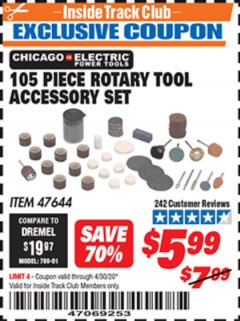 Harbor Freight ITC Coupon 105 PIECE ROTARY TOOL ACCESSORY SET Lot No. 47644 Expired: 4/30/20 - $5.99