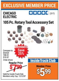 Harbor Freight ITC Coupon 105 PIECE ROTARY TOOL ACCESSORY SET Lot No. 47644 Expired: 12/3/20 - $5.99