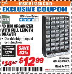 Harbor Freight ITC Coupon 40 BIN ORGANIZER WITH FULL LENGTH DRAWER Lot No. 94375 Dates Valid: 12/31/69 - 6/30/20 - $12.99