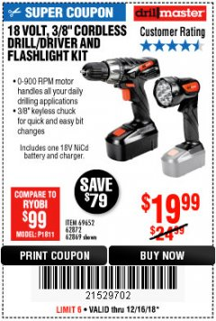 "Harbor Freight Coupon 18 VOLT CORDLESS 3/8"" DRILL/DRIVER AND FLASHLIGHT KIT Lot No. 68287/69652/62869/62872 Expired: 12/16/18 - $19.99"