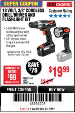 "Harbor Freight Coupon 18 VOLT CORDLESS 3/8"" DRILL/DRIVER AND FLASHLIGHT KIT Lot No. 68287/69652/62869/62872 Expired: 3/31/19 - $19.99"
