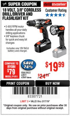 "Harbor Freight Coupon 18 VOLT CORDLESS 3/8"" DRILL/DRIVER AND FLASHLIGHT KIT Lot No. 68287/69652/62869/62872 Expired: 3/17/19 - $19.99"