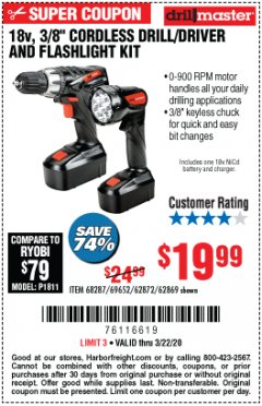 "Harbor Freight Coupon 18 VOLT CORDLESS 3/8"" DRILL/DRIVER AND FLASHLIGHT KIT Lot No. 68287/69652/62869/62872 Expired: 3/22/20 - $19.99"