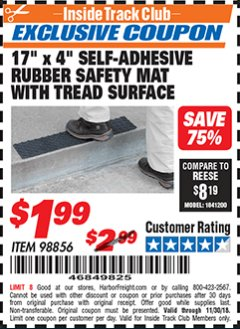 "Harbor Freight ITC Coupon 17"" x 4"" SELF-ADHESIVE RUBBER SAFETY ,AT WITH TREAD SURFACE Lot No. 98856 Expired: 11/30/18 - $1.99"