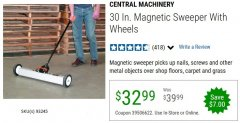 "Harbor Freight Coupon 30"" MAGNETIC SWEEPER WITH WHEELS Lot No. 93245 EXPIRES: 6/30/20 - $32.99"