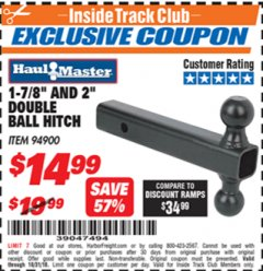 "Harbor Freight ITC Coupon 2"" DOUBLE BALL HITCH Lot No. 94900 Expired: 10/31/18 - $14.99"