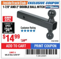 "Harbor Freight ITC Coupon 2"" DOUBLE BALL HITCH Lot No. 94900 Expired: 5/28/19 - $14.99"