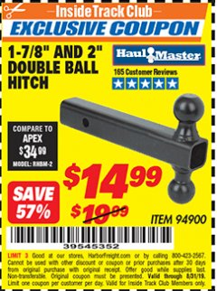 "Harbor Freight ITC Coupon 2"" DOUBLE BALL HITCH Lot No. 94900 Expired: 8/31/19 - $14.99"