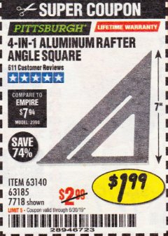 Harbor Freight Coupon 4-IN-1 ALUMINUM RAFTER ANGLE SQUARE Lot No. 7718/63140/63185 Expired: 6/30/19 - $1.99
