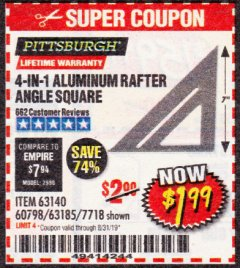 Harbor Freight Coupon 4-IN-1 ALUMINUM RAFTER ANGLE SQUARE Lot No. 7718/63140/63185 Expired: 8/31/19 - $1.99