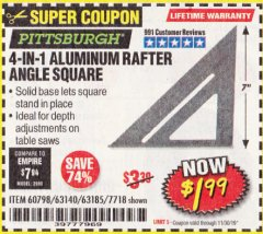 Harbor Freight Coupon 4-IN-1 ALUMINUM RAFTER ANGLE SQUARE Lot No. 7718/63140/63185 Expired: 11/30/19 - $1.99