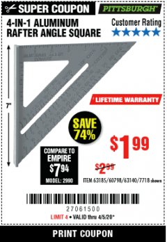 Harbor Freight Coupon 4-IN-1 ALUMINUM RAFTER ANGLE SQUARE Lot No. 7718/63140/63185 Valid Thru: 4/4/20 - $1.99