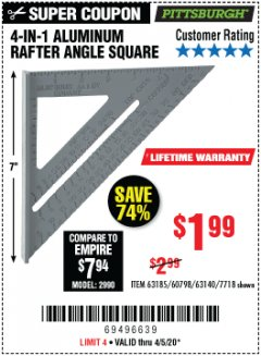 Harbor Freight Coupon 4-IN-1 ALUMINUM RAFTER ANGLE SQUARE Lot No. 7718/63140/63185 Valid Thru: 4/5/20 - $1.99