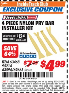 Harbor Freight ITC Coupon 4 PIECE NYLON PRY BAR INSTALLER KIT Lot No. 69668/63594 Expired: 8/31/19 - $4.99