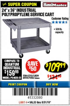 "Harbor Freight Coupon 24"" X 36"" TWO SHELF INDUSTRIAL POLYPROPYLENE SERVICE CART Lot No. 69444/62703/92862 Expired: 8/31/18 - $109.99"