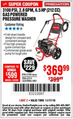 Harbor Freight Coupon 3100 PSI, 2.8 GPM 6.5 HP (212 CC) GAS POWERED PRESSURE WASHERS WITH 25 FT. HOSE Lot No. 62200/62214 Expired: 11/17/19 - $369.99