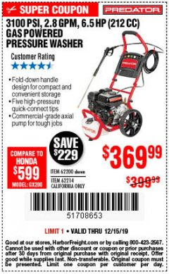 Harbor Freight Coupon 3100 PSI, 2.8 GPM 6.5 HP (212 CC) GAS POWERED PRESSURE WASHERS WITH 25 FT. HOSE Lot No. 62200/62214 Expired: 12/15/19 - $369.99