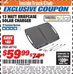 Harbor Freight ITC Coupon 13 WATT BRIEFCASE SOLAR CHARGER Lot No. 68750 Expired: 4/30/19 - $59.99