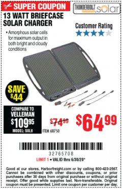 Harbor Freight Coupon 13 WATT BRIEFCASE SOLAR CHARGER Lot No. 68750 Expired: 6/30/20 - $64.99