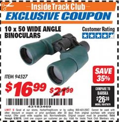 Harbor Freight ITC Coupon 10 X 50 WIDE ANGLE BINOCULARS Lot No. 94527 Expired: 6/30/18 - $16.99