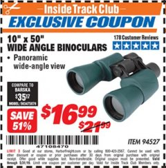 Harbor Freight ITC Coupon 10 X 50 WIDE ANGLE BINOCULARS Lot No. 94527 Expired: 5/31/19 - $16.99