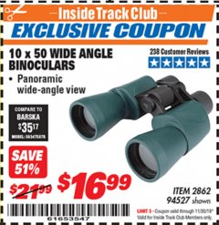 Harbor Freight ITC Coupon 10 X 50 WIDE ANGLE BINOCULARS Lot No. 94527 Expired: 11/30/19 - $16.99