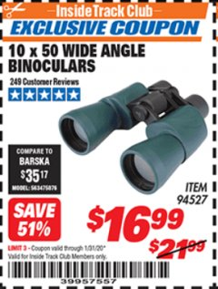 Harbor Freight ITC Coupon 10 X 50 WIDE ANGLE BINOCULARS Lot No. 94527 Expired: 1/31/20 - $16.99