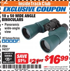 Harbor Freight ITC Coupon 10 X 50 WIDE ANGLE BINOCULARS Lot No. 94527 Expired: 3/31/20 - $16.99
