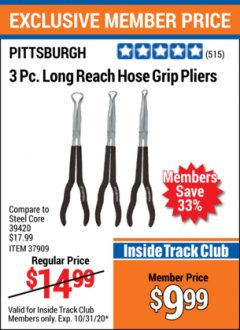 Harbor Freight ITC Coupon 3 PIECE LONG REACH HOSE GRIP PLIERS Lot No. 37909 Valid Thru: 10/31/20 - $9.99