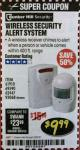 Harbor Freight Coupon WIRELESS SECURITY ALERT SYSTEM Lot No. 61910 / 62447 / 90368 Expired: 2/28/18 - $9.99