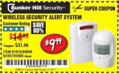 Harbor Freight Coupon WIRELESS SECURITY ALERT SYSTEM Lot No. 61910 / 62447 / 90368 Expired: 11/12/17 - $9.99