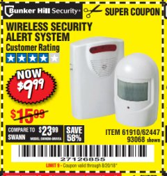 Harbor Freight Coupon WIRELESS SECURITY ALERT SYSTEM Lot No. 61910 / 62447 / 90368 Expired: 8/20/18 - $9.99