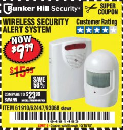 Harbor Freight Coupon WIRELESS SECURITY ALERT SYSTEM Lot No. 61910 / 62447 / 90368 Expired: 10/18/18 - $9.99