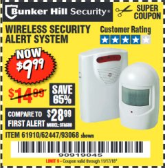 Harbor Freight Coupon WIRELESS SECURITY ALERT SYSTEM Lot No. 61910 / 62447 / 90368 Expired: 11/17/18 - $9.99