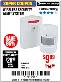 Harbor Freight Coupon WIRELESS SECURITY ALERT SYSTEM Lot No. 61910 / 62447 / 90368 Expired: 8/13/18 - $9.99