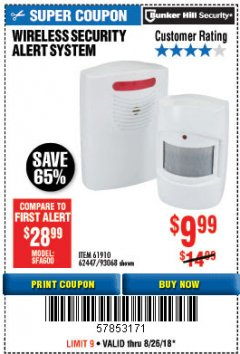 Harbor Freight Coupon WIRELESS SECURITY ALERT SYSTEM Lot No. 61910 / 62447 / 90368 Expired: 8/26/18 - $9.99